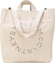 Logo Printed Beach Tote Bag Women Cotton  Nudeneutrals