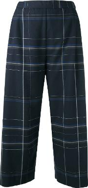 Checked Cropped Trousers Women Cotton S, Blue