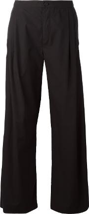 High Waisted Wide Trousers Women Cotton Xs, Women's, Black