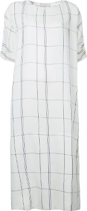 Checked Dress Women Linenflaxviscose 1, White