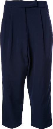 Cropped Tapered Trousers Women Silkvirgin Wool 1, Blue