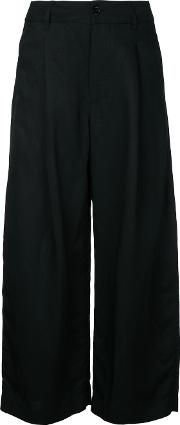Cropped Trousers Women Linenflaxviscose 1, Black