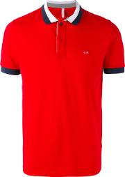 Contrast Polo Shirt Men Cottonspandexelastane L, Red