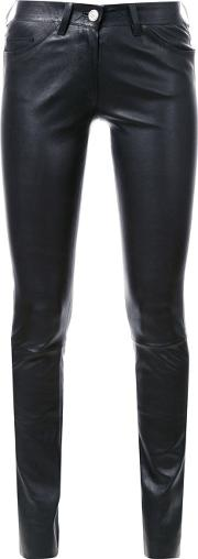 'cash Stretch' Skinny Trousers Women Calf Leather 40, Black
