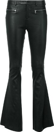 Flared Leather Trousers Women Cottonlamb Skinspandexelastane 42, Black