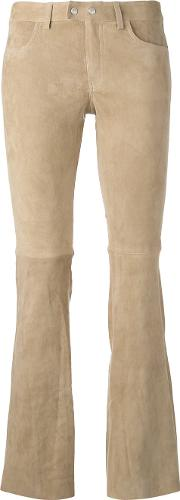 Skinny Fitting Flared Trouser Women Cottonspandexelastanegoat Suede 38, Nudeneutrals
