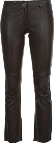 Sylvie Schimmel Cropped Trousers Women Lamb Skin 36, Brown