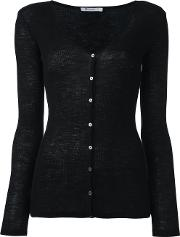 Fine Knit Cardigan Women Wool L, Women's, Black