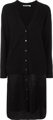 Satin Panel Cardigan Women Viscosemerino S, Women's, Black