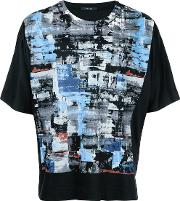 Paint Print T Shirt Men Cotton 1, Black