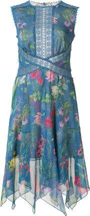 Floral Print Dress Women Polyester 12, Women's, Blue