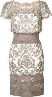 Sequinned Floral Dress Women Polyester 2, Women's, Grey