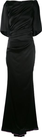 Draped Fitted Evening Gown Women Polyestertriacetateviscose 42, Black