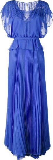 Pleated Skirt Layered Gown Women Polyester 44, Blue