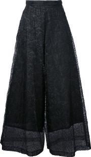 Lace Detail Cropped Pants Women Polyester One Size, Women's, Black