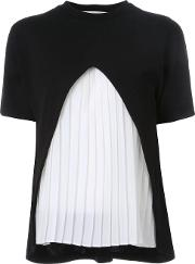 Pleated Front T Shirt Women Acrylicwoolnylon One Size, Black