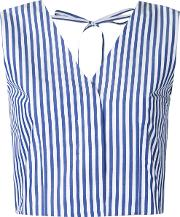 Striped Waistcoat Women Cotton One Size, White