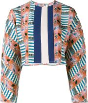 Printed Cropped Blouse Women Silk 8