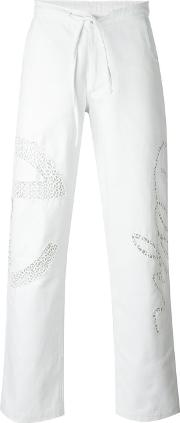 Embroidered Trousers Unisex Cotton L, White