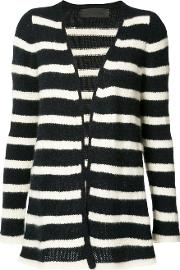 Striped Cardigan Women Cashmere L, Blue