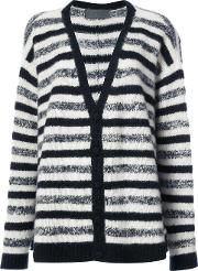 The Elder Statesman Striped Cashmere Cardigan Women Cashmere S, Black
