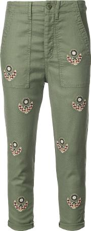 The Great Embroidered Cropped Trousers Women Cottonlinenflaxpolyurethanelyocell 27, Green