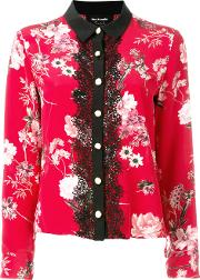 Floral Lace Front Blouse Women Silkpolyester 2, Red