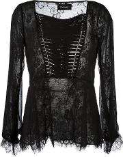 Lace Up Lace Blouse Women Polyamidepolyesterpolyurethane Xs, Black