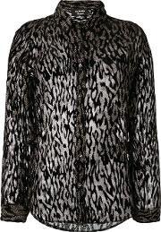 Sheer Animal Print Blouse Women Silkviscose 1, Black