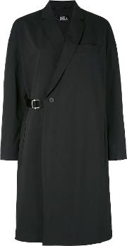 Wrap Belted Coat Women Nylonpolyester L, Black
