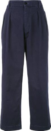 Cropped Trousers Women Cotton 30, Blue