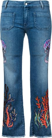 Embroidered Jeans Women Cottonspandexelastane 28, Blue