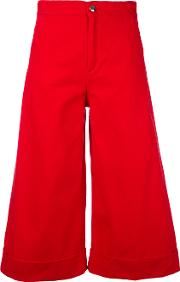 Flared Cropped Trousers Women Cotton 25, Red