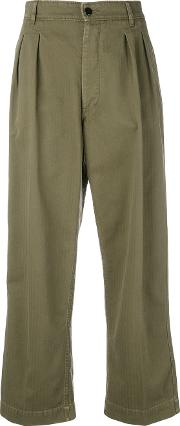 Pleated Front Cropped Trousers Women Cotton 25, Green