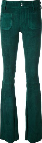 Suede Flared Trousers Women Leather M, Women's, Green