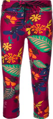 The Upside Floral Print Cropped Leggings Women Polyamide Xs, Red