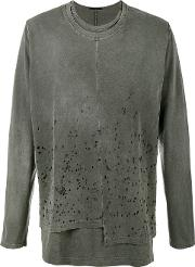 The Viridi Anne Distressed Long Sleeve T Shirt Men Cotton 5, Grey
