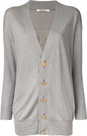 Elongated Buttoned Cardigan Women Cottonacrylic One Size
