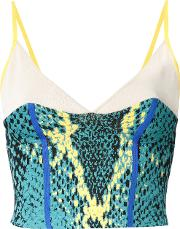 Snakeskin Print Cropped Top Women Rayonpolyester One Size, Green
