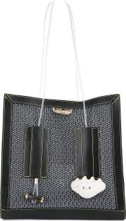 Textured Tote Women Leather One Size, Black