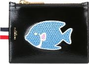 Fish Patch Zipped Purse Men Calf Leather One Size, Black