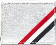 Thom Browne Double Card Holder With Red, White And Blue Diagonal Stripe In Silver Pebble Grain & Calf Leather Unisex Leather One Size, Grey