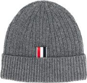 Thom Browne Ribbed Cashmere Beanie Men Cashmere One Size, Grey