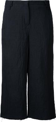 Cropped Trousers Women Cottonlinenflax S, Black