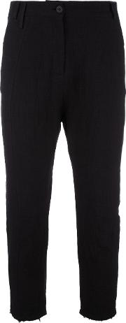 High Waisted Raw Edge Trousers Women Cottonlinenflax M, Black