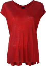 Round Neck T Shirt Women Linenflaxviscose L, Red