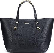 Embossed Crocodile Effect Tote Women Calf Leather One Size, Black