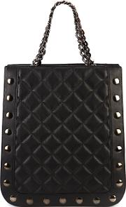 Quilted Shopper Tote Women Lamb Nubuck Leather One Size, Black