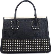 Studded Tote Women Calf Leather One Size, Black