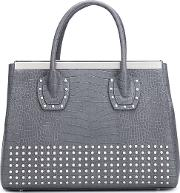 Studded Tote Women Calf Leather One Size, Grey